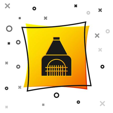 Black Interior fireplace icon isolated on white background. Yellow square button. Vector Illustration Banque d'images - 138499326