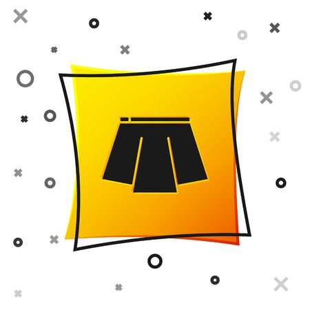 Black Skirt icon isolated on white background. Yellow square button. Vector Illustration