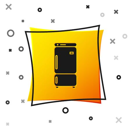 Black Refrigerator icon isolated on white background. Fridge freezer refrigerator. Household tech and appliances. Yellow square button. Vector Illustration Ilustração