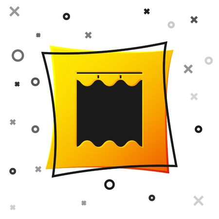 Black Curtains icon isolated on white background. Yellow square button. Vector Illustration