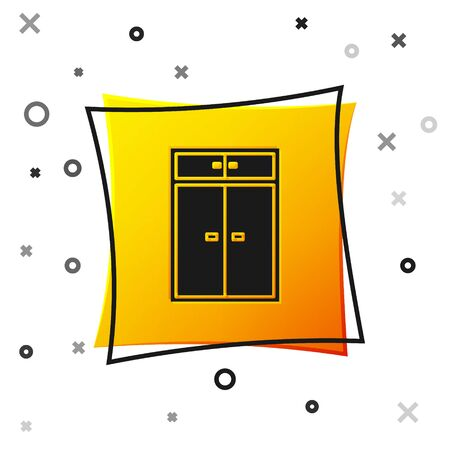 Black Wardrobe icon isolated on white background. Yellow square button. Vector Illustration