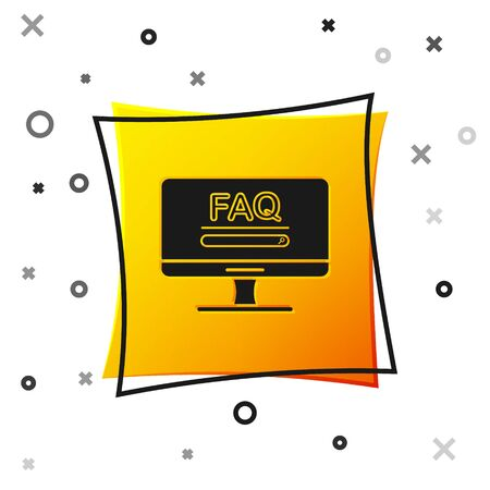Black Computer monitor with text FAQ information icon isolated on white background. Frequently asked questions. Yellow square button. Vector Illustration Иллюстрация