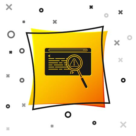 Black System bug concept icon isolated on white background. Code bug concept. Bug in the system. Bug searching. Yellow square button. Vector Illustration Ilustracja