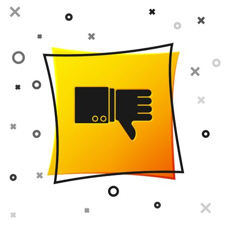 Black Dislike icon isolated on white background. Yellow square button. Vector Illustration