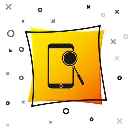 Black Mobile phone diagnostics icon isolated on white background. Adjusting app, service, setting options, maintenance, repair, fixing. Yellow square button. Vector Illustration