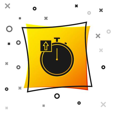 Black Stopwatch icon isolated on white background. Time timer sign. Chronometer sign. Yellow square button. Vector Illustration