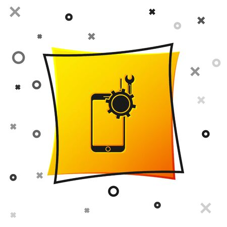 Black Mobile phone with screwdriver and wrench icon isolated on white background. Adjusting, service, setting, maintenance, repair. Yellow square button. Vector Illustration Ilustracja