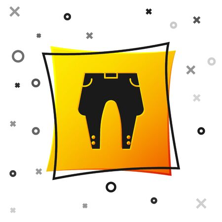 Black Pants icon isolated on white background. Yellow square button. Vector Illustration