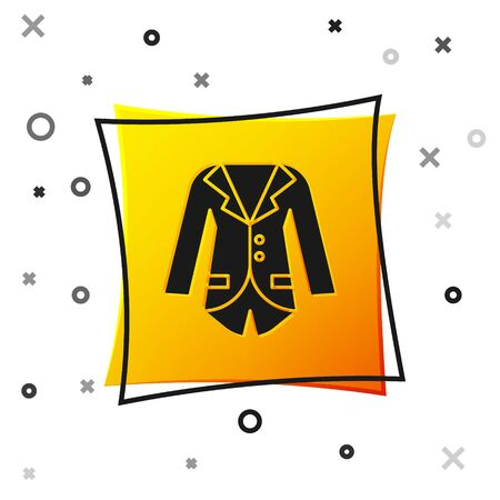 Black Blazer or jacket icon isolated on white background. Yellow square button. Vector Illustration