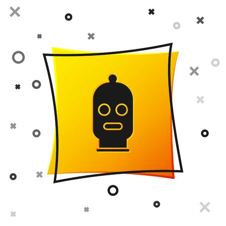 Black Balaclava icon isolated on white background. A piece of clothing for winter sports or a mask for a criminal or a thief. Yellow square button. Vector Illustration