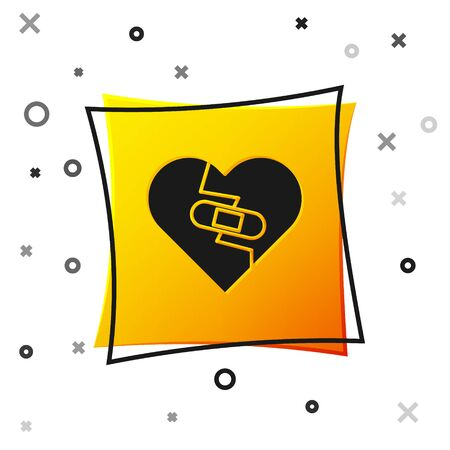 Black Healed broken heart or divorce icon isolated on white background. Shattered and patched heart. Love symbol. Valentines day. Yellow square button. Vector Illustration Ilustração