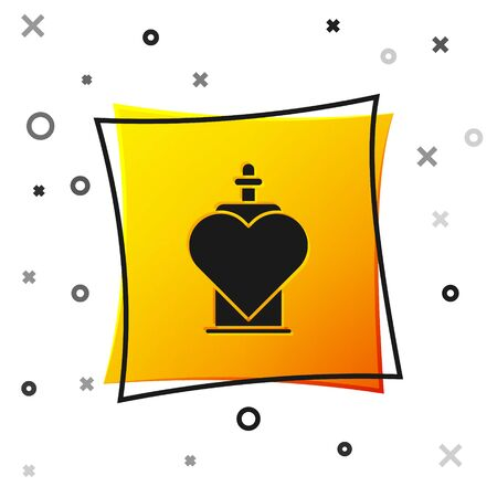 Black Bottle with love potion icon isolated on white background. Valentines day symbol. Yellow square button. Vector Illustration