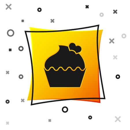 Black Wedding cake with heart icon isolated on white background. Valentines day symbol. Yellow square button. Vector Illustration Illusztráció