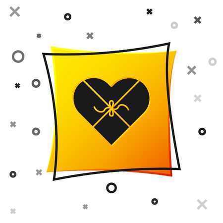Black Candy in heart shaped box and bow icon isolated on white background. Valentines Day. Yellow square button. Vector Illustration Banque d'images - 138463665