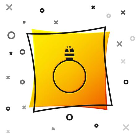 Black Diamond engagement ring icon isolated on white background. Yellow square button. Vector Illustration