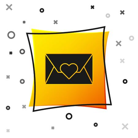 Black Envelope with Valentine heart icon isolated on white background. Message love. Letter love and romance. Yellow square button. Vector Illustration