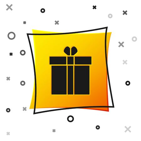 Black Gift box and heart icon isolated on white background. Valentines day. Yellow square button. Vector Illustration Banque d'images - 138463675