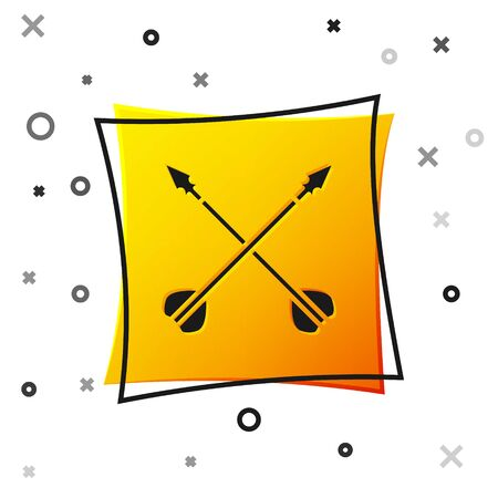 Black Medieval crossed arrows icon isolated on white background. Medieval weapon. Yellow square button. Vector Illustration Zdjęcie Seryjne - 138463677
