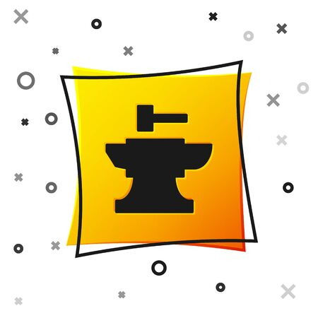 Black Anvil for blacksmithing and hammer icon isolated on white background. Metal forging. Forge tool. Yellow square button. Vector Illustration Ilustracja