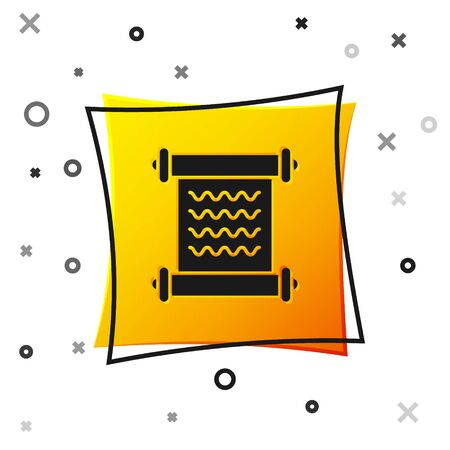 Black Decree, paper, parchment, scroll icon icon isolated on white background. Yellow square button. Vector Illustration