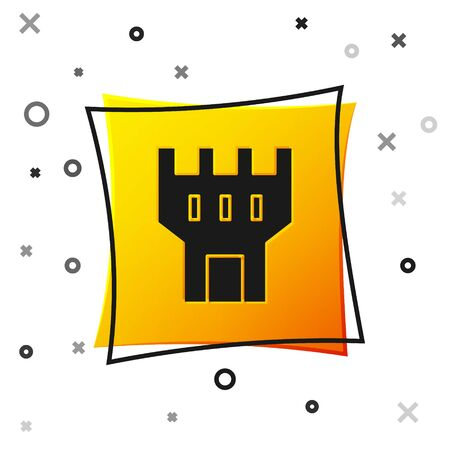 Black Castle tower icon isolated on white background. Fortress sign. Yellow square button. Vector Illustration
