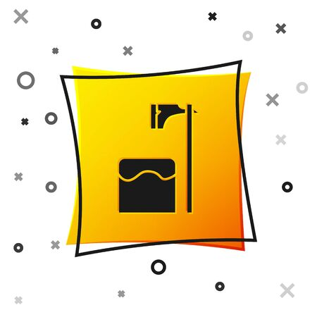 Black Executioner axe in tree block icon isolated on white background. Hangman, torturer, executor, tormentor, butcher, headsman. Yellow square button. Vector Illustration
