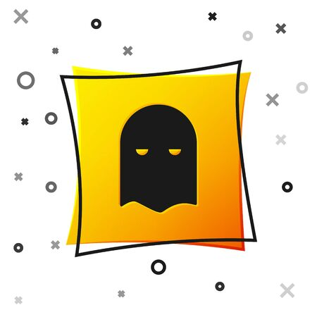 Black Executioner mask icon isolated on white background. Hangman, torturer, executor, tormentor, butcher, headsman icon. Yellow square button. Vector Illustration Illustration