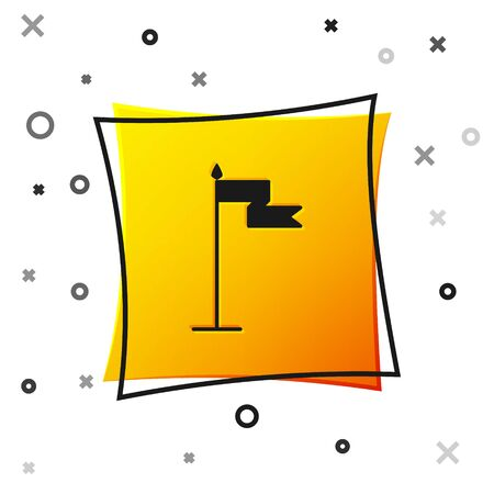 Black Medieval flag icon isolated on white background. Country, state, or territory ruled by a king or queen. Yellow square button. Vector Illustration
