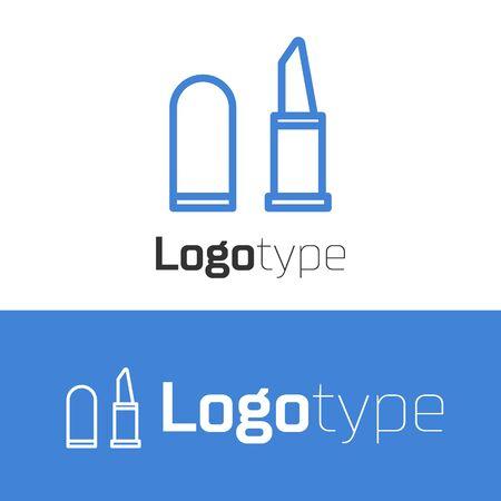 Blue line Lipstick icon isolated on white background. Logo design template element. Vector Illustration  イラスト・ベクター素材