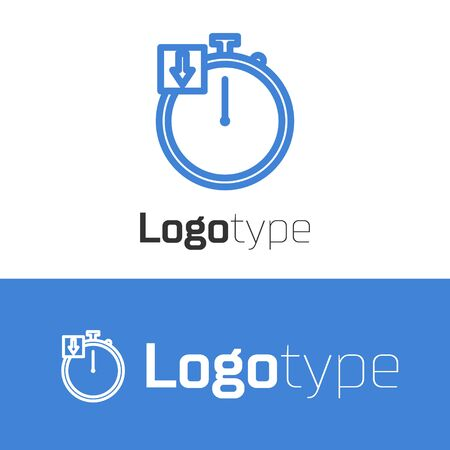 Blue line Stopwatch icon isolated on white background. Time timer sign. Chronometer. Logo design template element. Vector Illustration