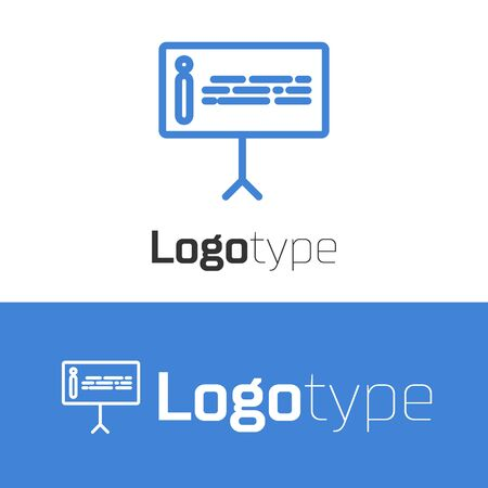 Blue line Information icon isolated on white background. Logo design template element. Vector Illustration Illusztráció