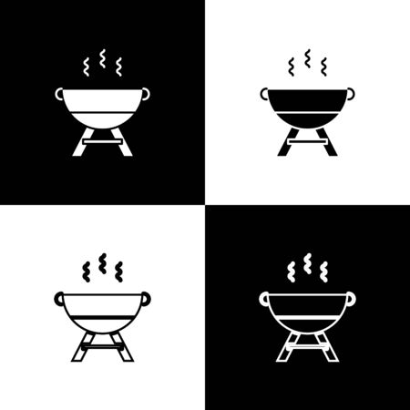 Set Barbecue grill icon isolated on black and white background. BBQ grill party. Vector Illustration Reklamní fotografie - 138469958