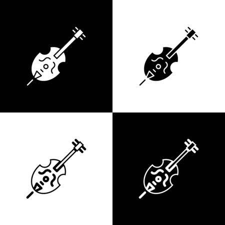 Set Violin icon isolated on black and white background. Musical instrument. Vector Illustration Foto de archivo - 138470001