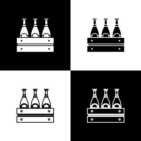Set Pack of beer bottles icon isolated on black and white background. Wooden box and beer bottles. Case crate beer box sign.  Vector Illustration