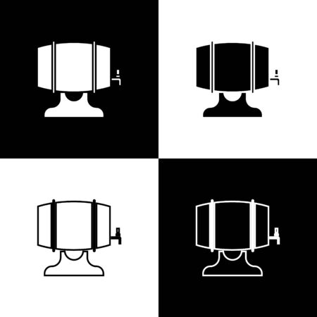 Set Wooden barrel on rack with stopcock icon isolated on black and white background. Vector Illustration
