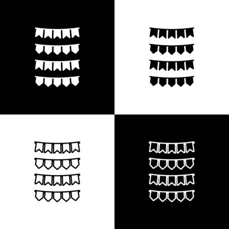 Set Carnival garland with flags icon isolated on black and white background. Party pennants for birthday celebration, festival and fair decoration.  Vector Illustration Ilustrace