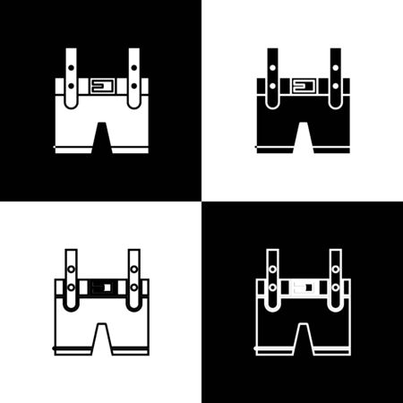 Set Lederhosen icon isolated on black and white background. Traditional bavarian clothing. Oktoberfest outfit. Pants with suspenders. Patrick day.  Vector Illustration Reklamní fotografie - 138470028