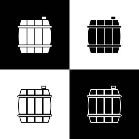 Set Wooden barrel icon isolated on black and white background. Alcohol barrel, drink container, wooden keg for beer, whiskey, wine. Vector Illustration Ilustração