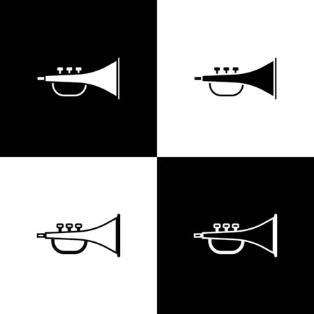 Set Musical instrument trumpet icon isolated on black and white background.  Vector Illustration Foto de archivo - 138470106