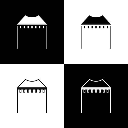 Set Camping tent icon isolated on black and white background. Carnival camping tent. Amusement park.  Vector Illustration Reklamní fotografie - 138470129