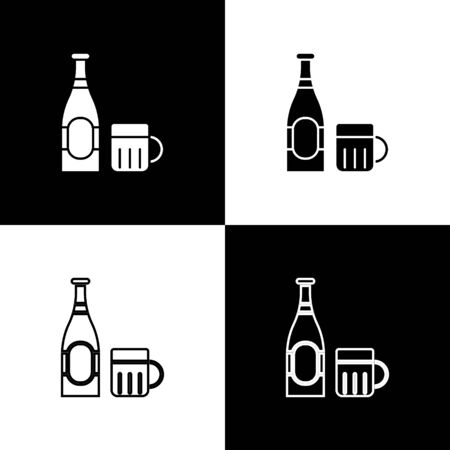 Set Beer bottle and glass icon isolated on black and white background. Alcohol Drink symbol.  Vector Illustration