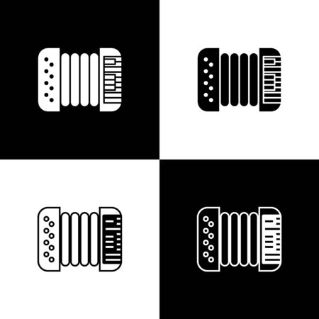 Set Musical instrument accordion icon isolated on black and white background. Classical bayan, harmonic.  Vector Illustration Imagens - 138470013
