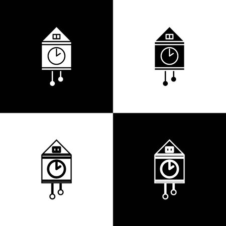 Set Retro wall watch icon isolated on black and white background. Cuckoo clock sign. Antique pendulum clock.  Vector Illustration Stok Fotoğraf - 138469970