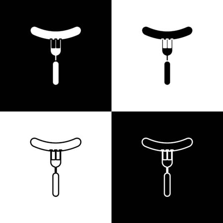 Set Sausage on the fork icon isolated on black and white background. Grilled sausage and aroma sign.  Vector Illustration Ilustrace