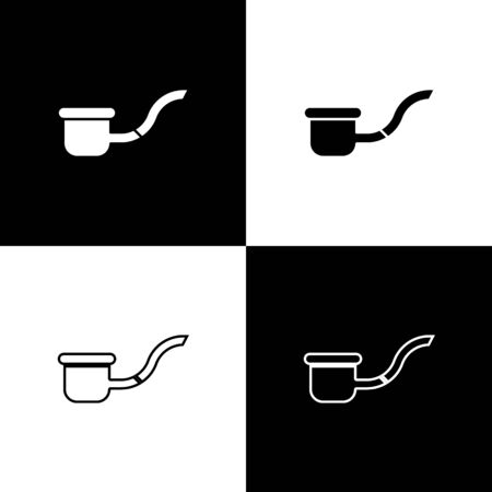 Set Smoking pipe with smoke icon isolated on black and white background. Tobacco pipe.  Vector Illustration Ilustracja