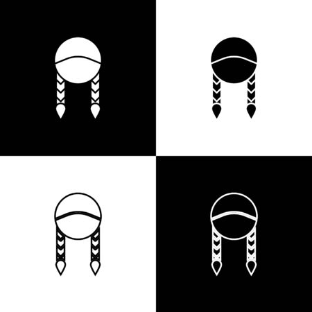 Set Braid icon isolated on black and white background. Vector Illustration