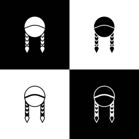 Set Braid icon isolated on black and white background.  Vector Illustration Ilustração