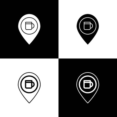 Set Alcohol or beer bar location icon isolated on black and white background. Symbol of drinking, pub, club, bar. Vector Illustration