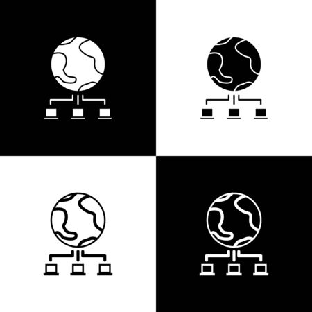 Set Computer network icon isolated on black and white background. Online gaming. Laptop network. Internet connection.  Vector Illustration Banque d'images - 138470020
