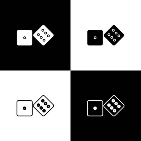 Set Game dice icon isolated on black and white background. Casino gambling.  Vector Illustration